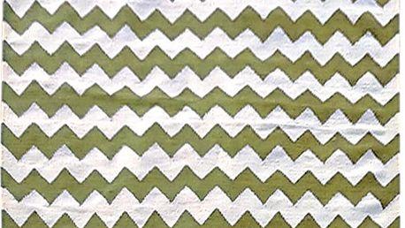 Vlněný koberec Kilim Design Two Green, 160x230 cm - doprava zdarma!