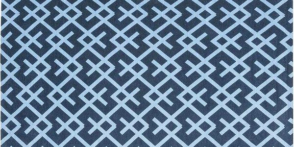 Vysoce odolný kuchyňský koberec Labyrinth Blue, 60x150 cm