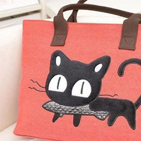 Látková taška přes rameno s motivem kočky