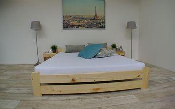 Postel s matrací a roštem EURO 160 x 200 cm - přírodní - lak