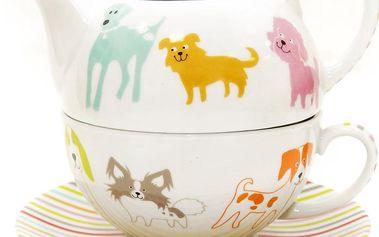 3dílná čajová sada barevní pejsci
