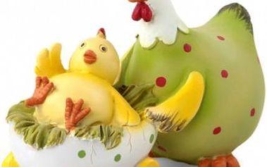 Dekorace slepice s kuřátkem
