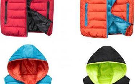 Dvoubarevná vesta s kapucí Color!