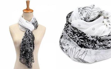 Dámský módní bílý šátek s květy.Elegantní doplněk do Vašeho šatníku. Vhodný pro všechny příležitosti.
