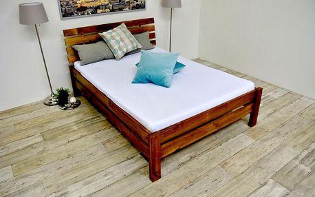 Vyvýšená postel z masivu ANNABEL + matrace + rošt 180 x 200 cm - dub - lak