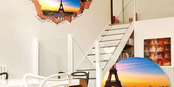 3D samolepka na zeď s výhledem na Eiffelovu věž