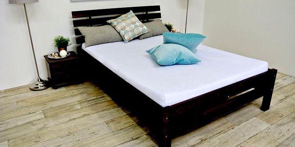Vyvýšená postel z masivu ANNABEL + matrace + rošt 160 x 200 cm - ořech - lak
