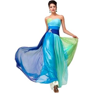 Výrazné večerní plesové šaty ve 2 barvách - 8 velikostí