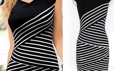 Černobílé pruhované šaty - 7 velikostí