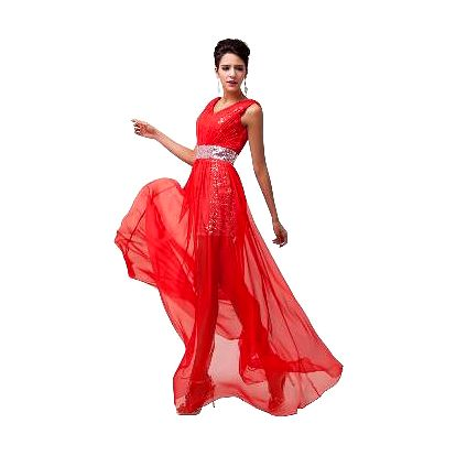 Červené večerní šaty se zdobením - 8 velikostí