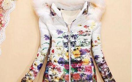 Dámská květinová bunda s kožíškem - 4 barvy