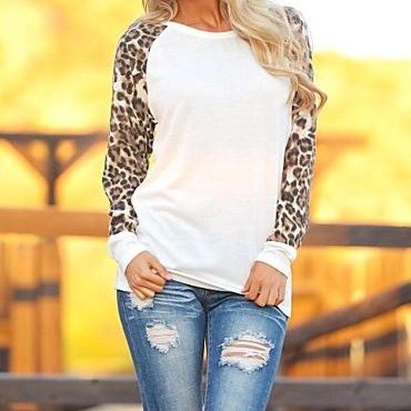 Triko - leopardí rukávy