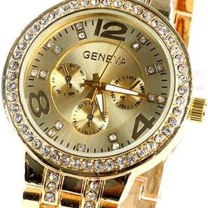 Dámské ocelové hodinky s krystalky