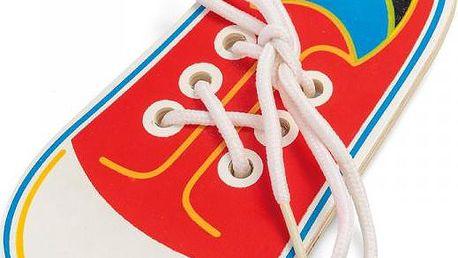 Dřevěná bota na zavazování tkaniček