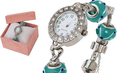 Dámské hodinky v náramkovém stylu s krystaly a korálky