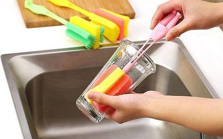 Pomůcka na mytí úzkých sklenic