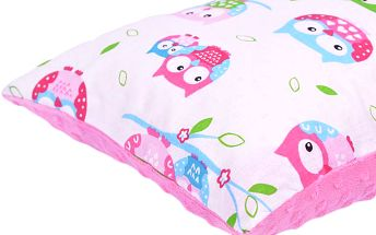 My Best Home Dětský polštář Sovičky, 40x40 cm, Růžová