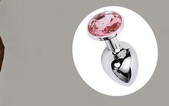 Stříbrný anální šperk s barevným krystalem