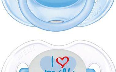 "AVENT Šidítko s textem ""I love milk"", 0-6 m, (2 ks), kluk"
