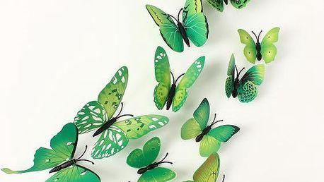 12 kusů 3D motýlků v zelené barvě - skladovka - poštovné zdarma