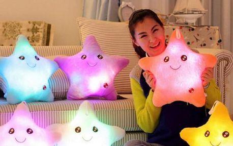 Plyšová LED hvězdička měnící barvy - růžová - skladovka