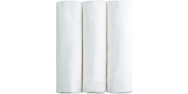 T-TOMI Bambusové pleny, sada 3 ks, bílé