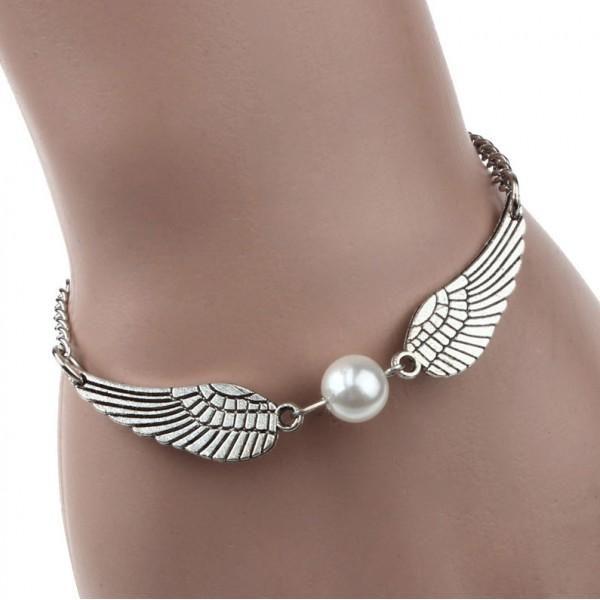 Náramek s perličkou a křídly Infinity