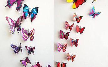 Dekorace v podobě motýlků - různé barvy
