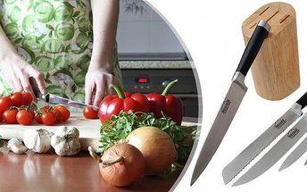 Sada kuchyňských nožů MESSER 6 dílů s dřevěným držákem na nože! Nože, špičkové kvality, mají celokovové tělo a plastovou rukojeť opatřenou nerezovými nýty. Blok je vyroben z cizokrajného nádherného dřeva opatřený impregnačním nátěrem.