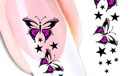 Fialové nálepky motýlků na nehty - poštovné zdarma