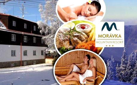 Beskydy a ubytování v Morávka Mountain Resortu s koupáním v bazénu se slanou vodou!! Jedinečná relaxace s polopenzí, saunou, bazénem, masážemi a to vše pro dva na 3 dny!! Pohádková krajina a přátelská atmosféra na vás dýchne na každém kroku!!