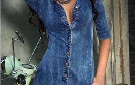 Dlouhá džínová košile s krajkou Tara
