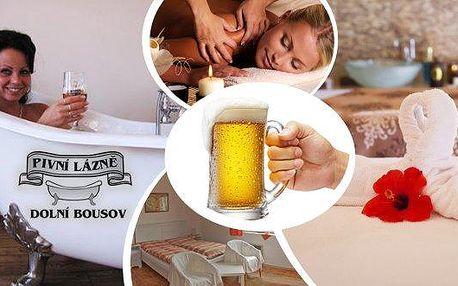 2-5-denní pobyt pro 2 osoby v pivních lázních Dolní Bousov. Bohatá polopenze, pivní koupel s konzumací piva zdarma, vstup do posilovny a sleva na wellness procedury či saunu! Dopřejte si relax pro tělo i mysl v krásném prostředí Českého ráje!