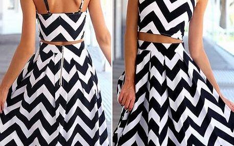 Módní černobílé šaty