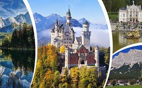 Zájezd pro 1 osobu do překrásného Bavorska - červenec až říjen! Uvidíte nádherné zámky Neuschwanstein a Linderhof, alpská jezera Alpsee a Eibsee, soutěsku s vodopádem a horu Zugspitze! Mnoho nástupních míst! Nezapomenutelný zážitek, který si nenechte ujít