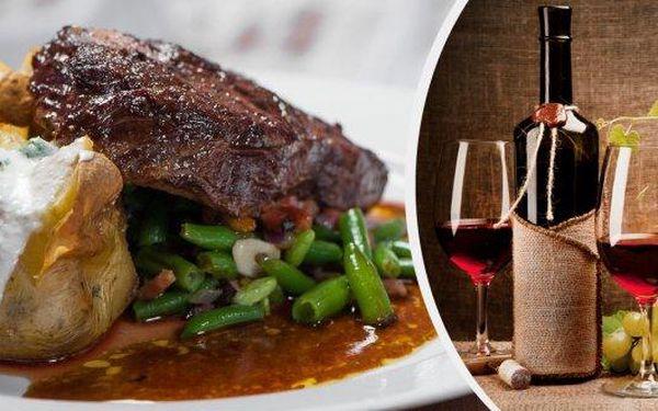 2x 300g Rib eye steak a 2x příloha v restauraci U Kroužků. Pochutnejte si na šťavnatém steaku s pepřovou omáčkou. Kvalitní české maso Black Angus v bio kvalitě a jako bonus láhev vynikajícího moravského vína za zvýhodněnou cenu.