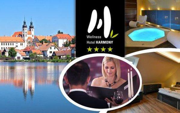 Romantický pobyt ve 4* Wellness hotelu Harmony nedaleko Telče pro 2 osoby na 3 dny! Čeká na vás komfortní ubytování, lahodné snídaně, romantická večeře při svíčkách, vstupy do zoo Jihlava, do aquaparku s atrakcemi a další bonusy!!