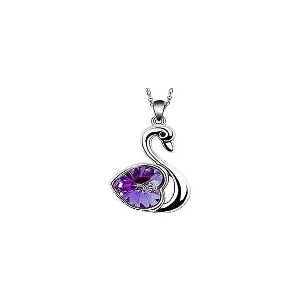Luxusní přívěšek ve tvaru labutě s fialovým kamínkem včetně řetízku o délce 45 cm!