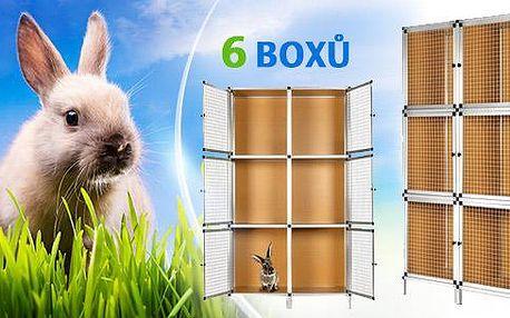 Kvalitní hliníková králíkárna pro malé hlodavce - 6 boxů. Materiál odolný proti okusu i poškrábání! Pošta zdarma.
