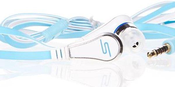 SMS stereo sluchátka světle modrá