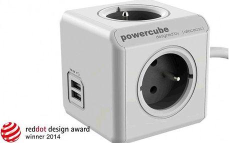 PowerCube EXTENDED USB PWC-PUSB prodlužovací přívod 1,5m-4zásuvka+ USB, šedá, 2500W, 220-240V, 10A