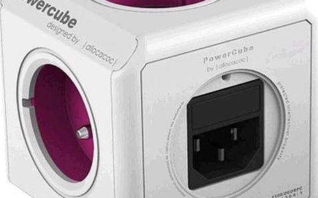 PowerCube REWIRABLE PWC-RWPL rozbočka-5ti zásuvka - růžová, 2300W, 220-240V, 10A