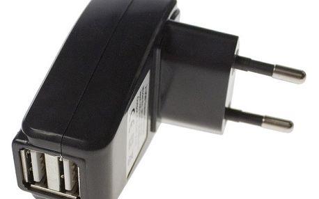Aligator Powerstrong nabíjecí adaptér do sítě s 2x USB portem černý