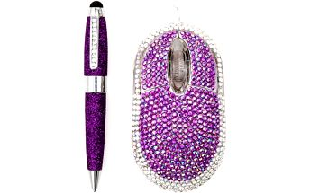 Satzuma USB diamantová myš a diamantové pero fialové