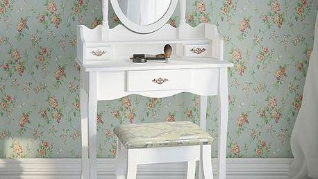 Toaletní stolek se zrcadlem a stoličkou bílý SH5032B