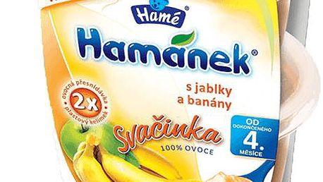 6x HAMÁNEK svačinka jablka a banány 100% ovoce (2x130 g)