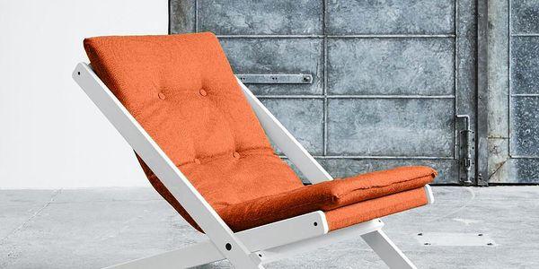 Skládací křeslo Karup Boogie, bílý rám/oranžový potah - doprava zdarma!