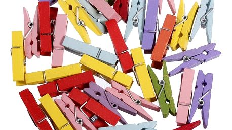 Dřevěné kolíčky v pestrých barvách - 100 kusů - dodání do 2 dnů