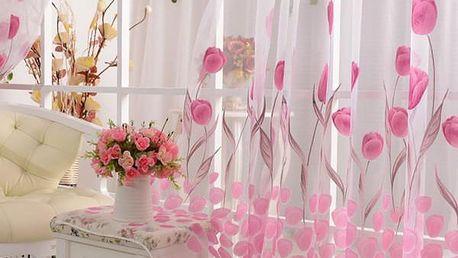 Růžová záclonka s motivy tulipánů - skladovka - poštovné zdarma