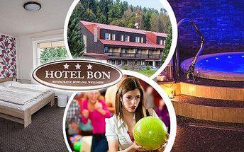 Wellness pobyt pro 2 osoby na 3 dny v hotelu Bon*** s polopenzí, privátním wellness, bowlingem, slevou na masáž.... Užijte si krásnou přírodu Jizerských hor, zdarma Vám v hotelu zapůjčí trekové hole a také zdarma dostanete slevovou kartu Jizerky Card.